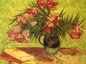 Van Gogh Vase With Oleanders And Books