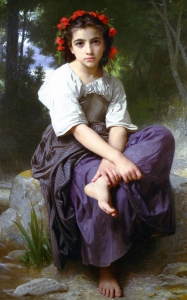 Bouguereau At The Edge Of The Brook