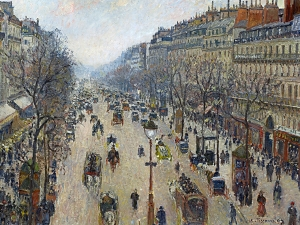 Pissarro Boulevard Montmartre, Morning, Cloudy Weather